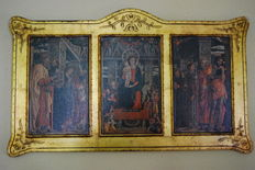 Religious Icon triptych from the 20th century, made in wood and gold leaf, 46x78