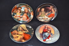 Set of 4 Vista Alegre porcelain plates - religious - Portugal 1980