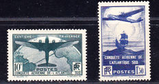France 1936 - Crossing the South Atlantic 10 Fr green - Yvert no. 320 and 321