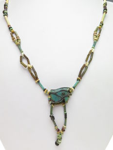 Egyptian faience beads necklace and Horus amulet - 58 cm