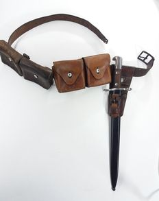 Schmidt-Rubin bayonett 1899 with belt and bullet bags