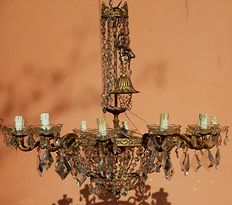 Gilded bronze Venetian chandelier with crystal drops, 1920s
