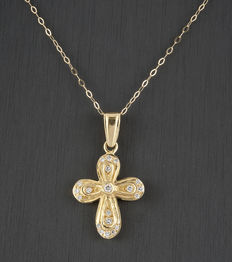 18 kt yellow gold - chain with cross - 0.50 ct diamonds - length 42cm.