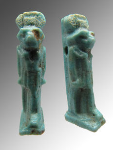 Egyptian faience amulet of the god Re Horakhty - 25 mm