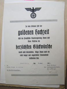 Congratulatory certificate from the leader of the 3 Reich