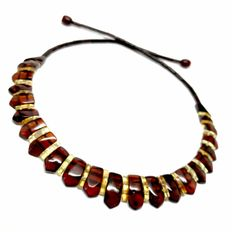 Necklace of Baltic amber slices - cherry and lemon colours