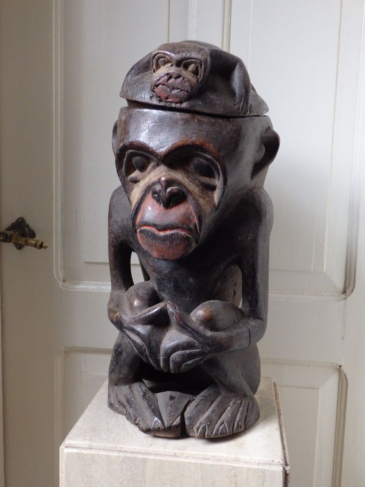 Large African monkey of wood, NGI jar - BULU-Cameroon