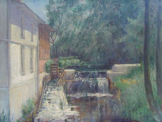"Unknown artist - ""Water mill in Ribnitz"""