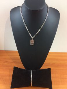 Silver set with silver, bar pendant, 925/835 kt.