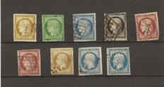 France 1849/1854 – Selection of Classic Stamps – Yvert n° 1, 2, 3, 4, 6a, 9b, 9, 10, 10a