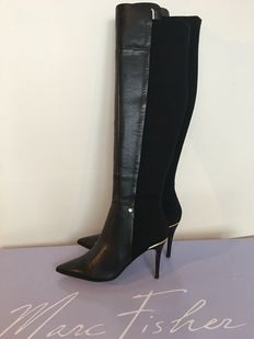 Marc Fisher USA – new in box, leather stretch boots, with a gold accent on the edge of the heel
