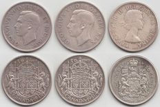 Canada – 50 Cent 1943, 1951 and 1964 – silver