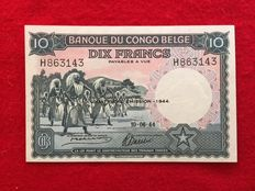 Belgian Congo - 10 Francs 10.6.1944 - Quatrieme Emission - Pick 14D
