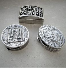 Three silver peppermint/pill boxes - 20th century