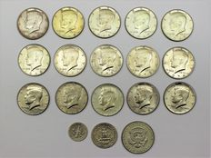 Lot of 18 Silver Coins – United States, 1947-1976