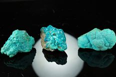 Lot of natural Chrysocolla with Malachite specimens - 102gm (3)
