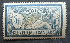 France 1900 – 5F blue and ochre, signed Calves with digital certificate – Yvert no. 123.