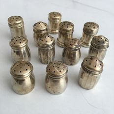 Antique sterling silver saltshakers to use when eating an egg (12x) - Holland - 19th Century