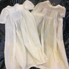 2 Almost identical old English baptism dresses for babies or large dolls