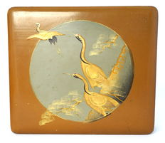 Lacquered box with white egret scene - Japan - around 1930