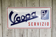 Large convex enamel Vespa service sign
