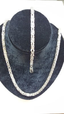 925 Silver Square King's braid set, necklace with bracelet, Necklace measurements: 70 cm, Bracelet measurements: 22.5 cm