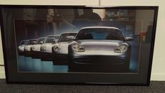 Porsche 911 generations - Framed artwork with headlight lighting - year 2000 - 103.5 cm x 53.5 cm x 4.5 cm