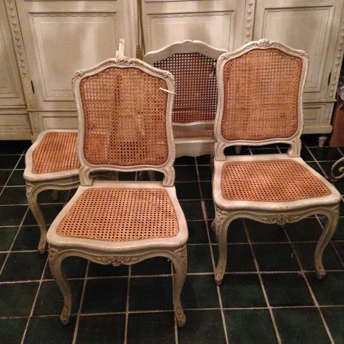 Set Of Four White Painted Wooden And Cane Chairs In The Style Of Louis XV,