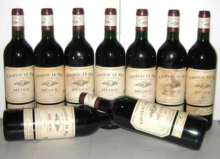 2000 ch teau le pey cru bourgeois de medoc lot 9 bouteilles catawiki. Black Bedroom Furniture Sets. Home Design Ideas