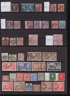 Great Britain 1840/1960 – small batch with Nr. 1 Pl6, Nr.4 in pair, Nr.76 Pl. 4