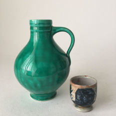 Hein Andree - green glazed pitcher, and a small decorated vase
