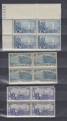 France - 3 blocks of 4, 2 coines dates and 1 block of 6 between Yvert 328 and 965