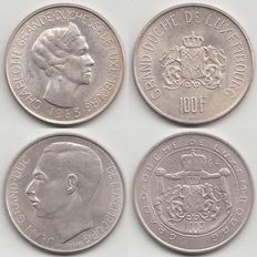 Luxembourg - 100 Francs 1963 and 1964 - Silver.