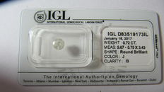 IGL Sealed 0.72 ct Loose Round brilliant cut diamond J colour,  I3   ** No Reserve **