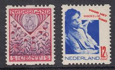 The Netherlands 1927/1931 - Children's stamps with image errors - NVPH 208 PM and 243 PM4 on perforation R78 and R93
