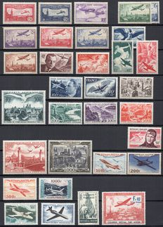 France 1930 to 1955 – Set of 30 Airmail stamps.