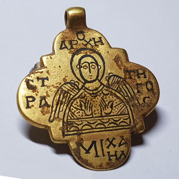 Early medieval byzantine gold pendant with niello inlaid of st early medieval byzantine gold pendant with niello inlaid of st michael 42 mozeypictures Gallery