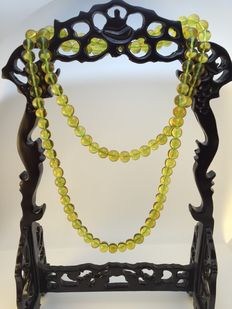 Burma amber necklace yellow honey, transparent, 27.9 grams