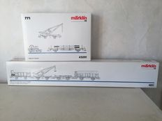 "Märklin H0 - 45091/4897- Carriage set Telegraphy of DRG/-part set ""turf transport"" with crane of K.Bay.Sts.B"