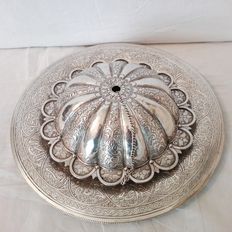 Essence burner and plate in silver, Eastern Manufacturing 20th century