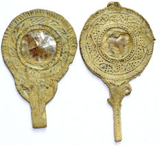 Pair of 2 Ancient Roman Lead Votive Mirrors (2)