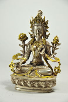White Tara with golden highlights - Tibet - late 20th century