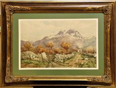F.  Andrade (1917 - 1998) - Landscape with mountains