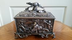 antique silver plated jewellery box relief decorated with hunting scenes and a very detaild deer on top