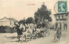 Lot of 2 old postcards of Switzerland - Carriage - La Cure in 1911 and Furkastrasse Mitrhonegletscher in 1910.
