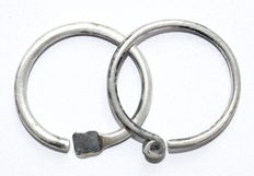 Pair of Iron Age period (Celtic) Silver Twisted Earrings - 55-57 mm (2)