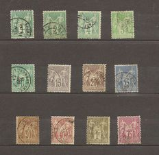 France 1876/1900 – Sages Type I, II and III, Complete series except for 2 – Yvert nos. 61 to 105 are missing 73 and 83