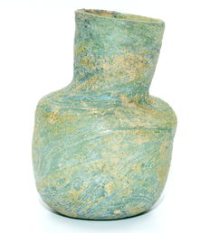 Rare Ancient Roman Green Glass Flask - 65mm