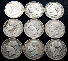Spain – Alfonso XII – 9 coins of two pesetas, 1881 MSM – Silver