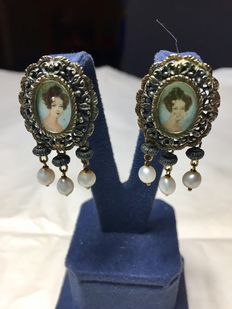 Earrings with Miniatures and Micropearls – Sicily, 1800s